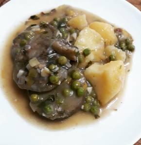 Berenjena en salsa verde conpatatas